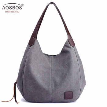 Aosbos 2019 Brand Women's Canvas Handbag High Quality Female Shoulder Bag Vintage Solid Multi-pocket Fashion Ladies Totes Female - DISCOUNT ITEM  30% OFF All Category