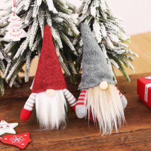 1pc Red/Gary Cute Christmas Cap Faceless Doll Little Figurine Ornament Decoration Nordic Gnome Old Man Doll Christmas Tree Deco