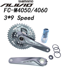 Shimano Alivio M4050 T4060 27S bike crankset 22 30 40T 22 32 44T 170mm 3*9 speed 40t 44t Hollow bicycle crankset chainwheel BB52