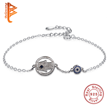 Wholesale 5PCS Hamsa Hand Blue Crystal Lucky Eye  925 Sterling Silver Crystal Bracelets for Women Jewelry Fashion Gifts
