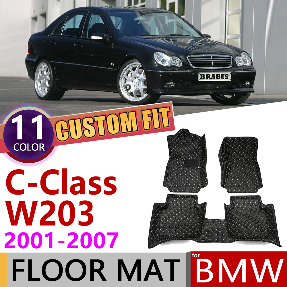 Custom Leather Car Floor Mats For Mercedes Benz C Class W203 2001~2007 5seats Foot Pad Carpet Accessories C200 C230 2002 2005