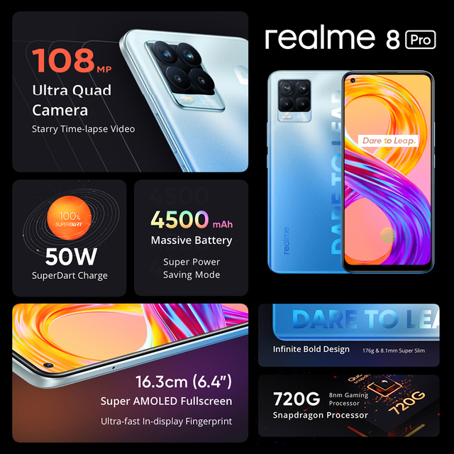 "Global Version realme 8 Pro 8GB 128GB Smartphone 108MP Ultra Quad Camera 6.4"" Super AMOLED Fullscreen 50W SuperDart Charge 2"