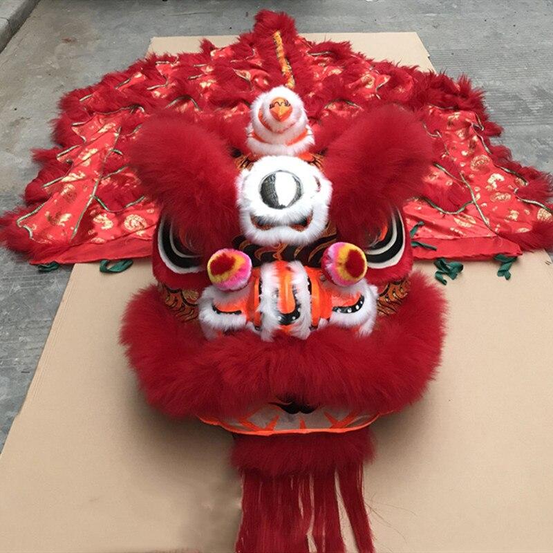 Costumes de mascotte de danse de Lion tenue de danse de Lion vêtements de scène en laine faits à la main accessoires de scène pour les chinois d'outre-mer