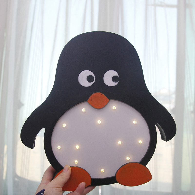 INS Creative Kids Boys Girl Room Night Light Lovely Penguin Panda Dog Battery Power Decoracion Infantil Wooden Decoracao Quarto