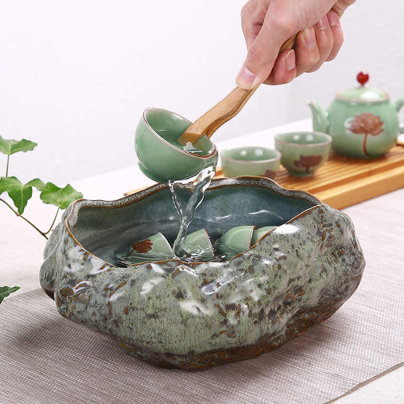 Yaratıcı Retro büyük kaplumbağa balık tankı bakır para çim kase Lotus nilüfer olmayan gözenekli saksı çok fonksiyonu çay yıkama