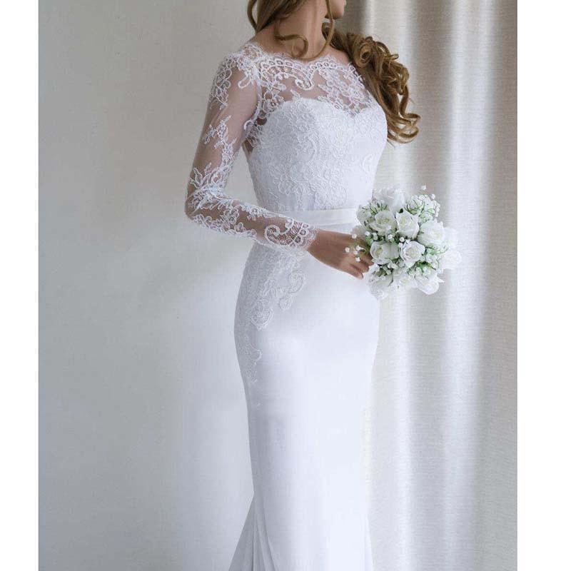 Beach Lace Appliques W Dress Vestido De Noiva O Neck Lace Mermaid Gorgeous Bridal Gown Custom Made Wedding Dress