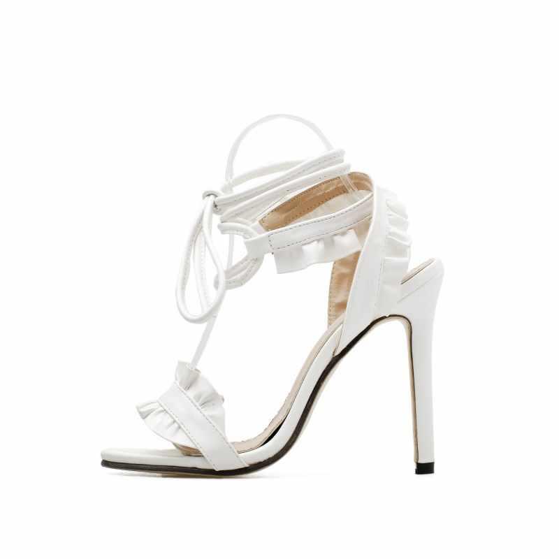 Gợi Cảm Nữ Bơm Giày Cầu Người Phụ Nữ Giày Cao Gót Họa Tiết Hoa Trắng Giày Phối Ren Peep Toe Giày Sandal Nữ Cổ Điển Bơm 2020