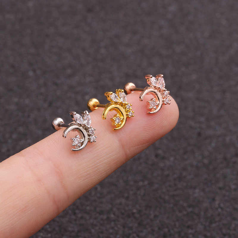 20G Creative Cz Moon Star Cartilage Helix Tragus Conch Rook Ear Piercing Earring Stud Stainless Steel Jewelry Nipple Piercing