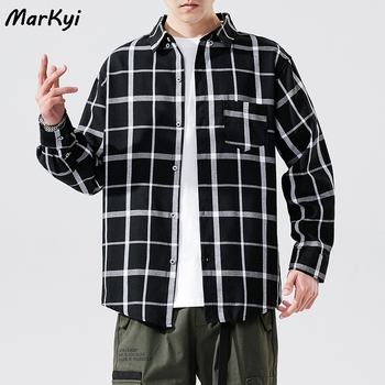 MarKyi plus size 5xl casual plaid long sleeve shirts for men 2020 fashion pocket big size dress shirt male pocket patched plaid curved hem shirt dress