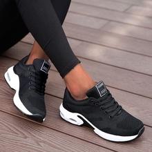 Buty do biegania damskie oddychające buty na co dzień światło zewnętrzne waga obuwie sportowe platforma do chodzenia na co dzień damskie trampki czarne tanie tanio stuccco Siateczka (przepuszczająca powietrze) CN (pochodzenie) Mieszkanie (≤1cm) inny Płytkie Patchwork Dla osób dorosłych