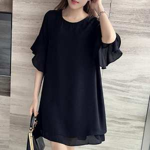 Dress Butterfly-Sleeve Round-Neck Chiffon Black Plus-Size Women Fashion Summer 5XL Cute