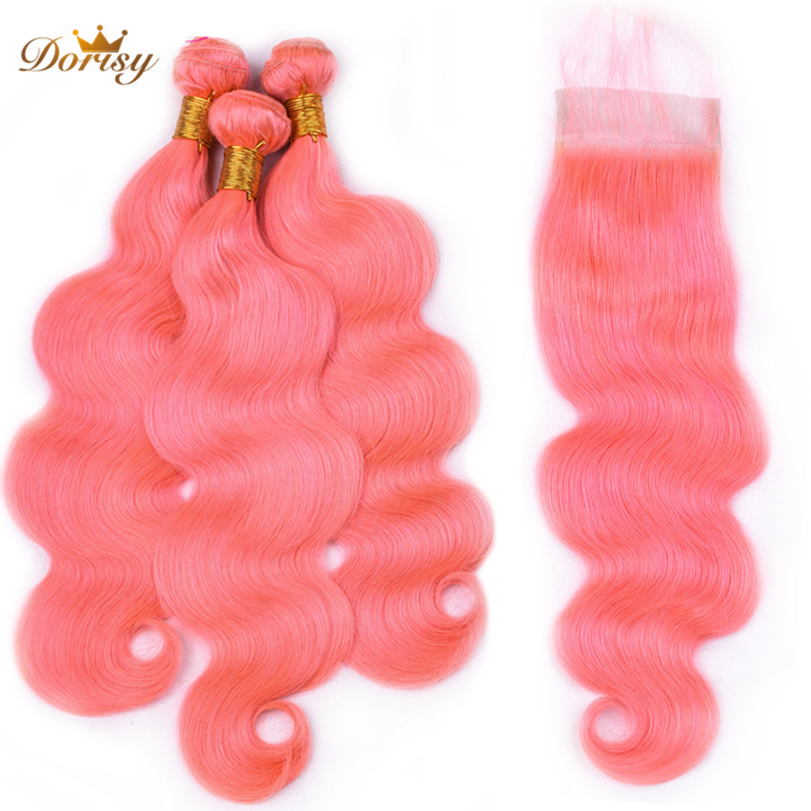 Rose Pink Bundles With Closure Pre Colored Body Wave Remy Peruvian Human Hair Bundles With Lace Closure Dorisy Hair Extensions