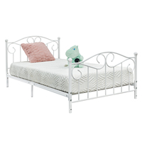 Adjustable Height Twin Bedside Bend Flower Decoration Iron Twin Bed White Modern Design