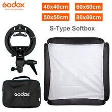 GODOX 40x40cm / 50x50cm / 60x60cm / 80x80cm Softbox s tipi braketi istikrarlı Bowens dağı flaş braketi montaj katlanabilir Softbox kiti