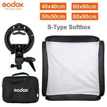 GODOX 40x40cm / 50x50cm / 60x60cm / 80x80cm centimetri Softbox con S Tipo di Staffa stabile Bowens Mount Flash Staffa di Montaggio Pieghevole Softbox Kit