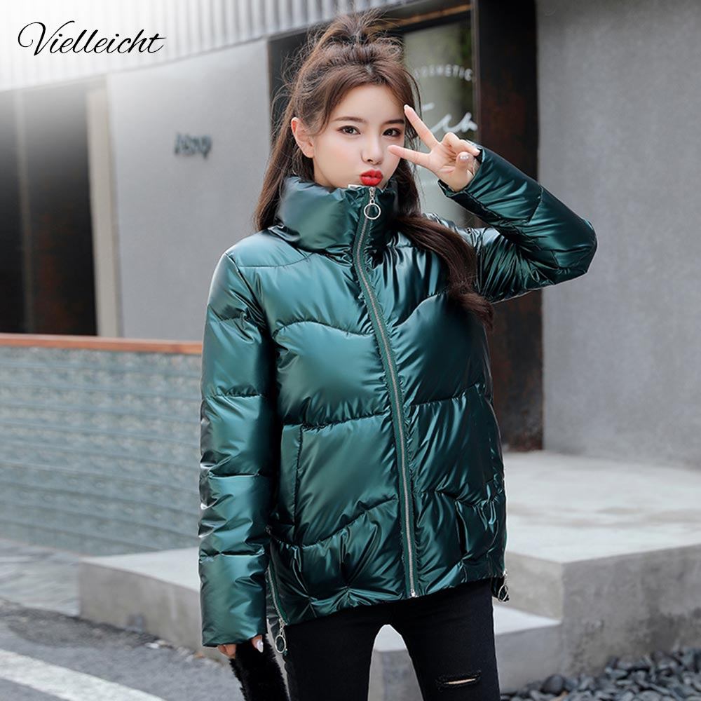 Vielleicht 2020 Autumn Women's Winter Coats Fashion Silver Stand Collar Parkas Winter Jacket Women Pockets Padded Cotton Coat(China)
