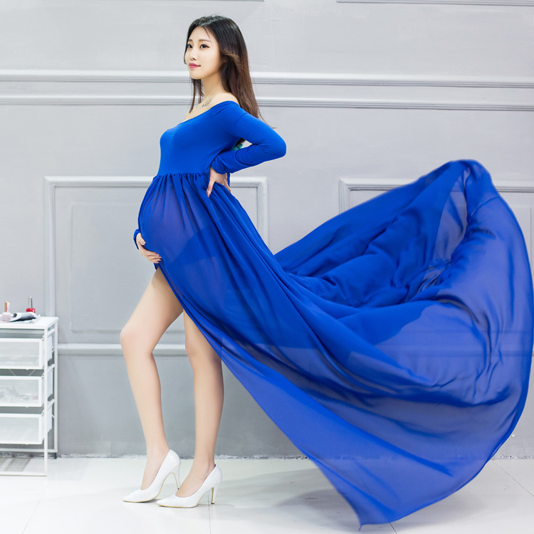 Sexy Maternity Dresses Photography Props Split Front Pregnant Women Pregnancy Dress Chiffon Maxi Maternity Gown For Photo Shoots