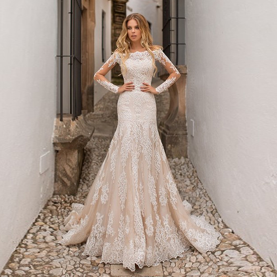 Long Sleeves Champnage Expensive Fully Lace Applique Mermaid Wedding Dress Long Sleeves Champagne Bridal Gowns
