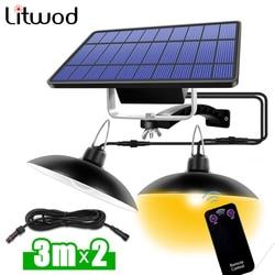16 LED Solar Pendelleuchte Doppelkopf Outdoor Solar Innenleuchte mit Linie Warmweiß / Weiß Hausgarten Hof