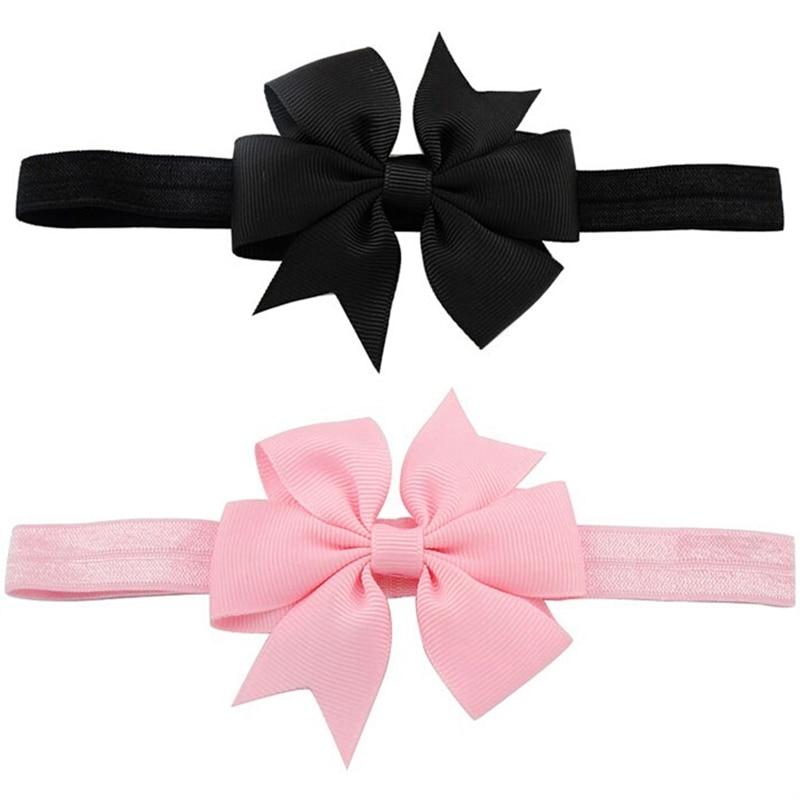 2 Piece Baby Girls Hair Bow Tie Ribbon Decor Hairband Headband, Black & Pink