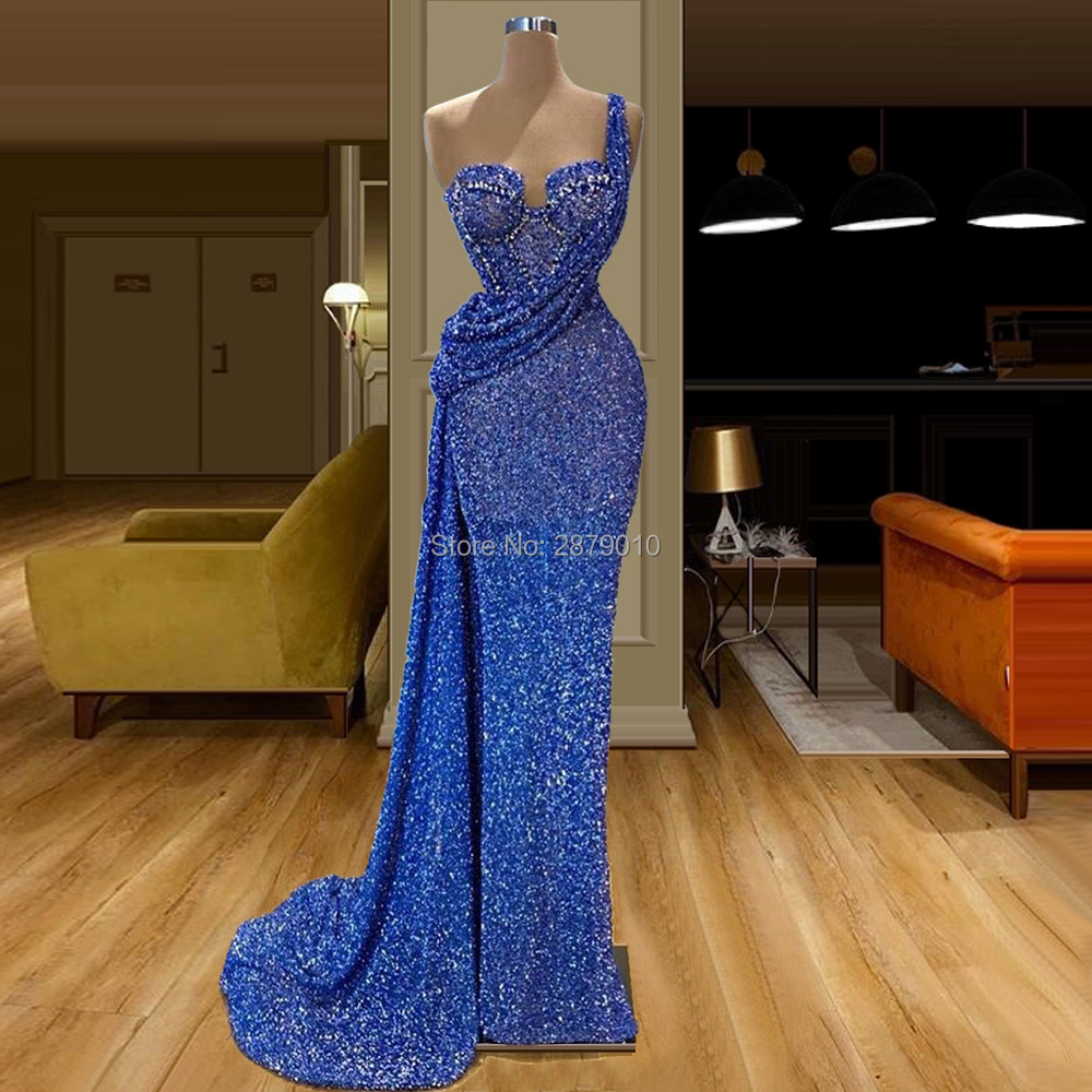 Royal Blue Evening Dress Sheath Floor-Length Sleeveless Elegant Sequins Robe De Soiree Aibye Prom Dress Middle East Dubai Dubai