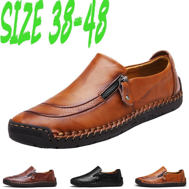 2019 Classic Comfortable Men Casual Shoes Loafers Men Shoes Split Leather Shoes Men Flats Hot Sale Moccasins Shoes Plus Size 48