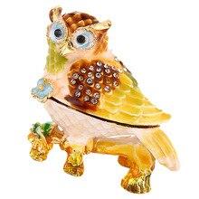 Эмалированное хрустальное кольцо в виде совы держатель для ювелирных изделий ящик для хранения дома Декор подарочная коробка