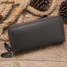 PNDME vintage high quality genuine leather men's clutch wallets casual simple long 2 zipper phone credit card luxury coin purse