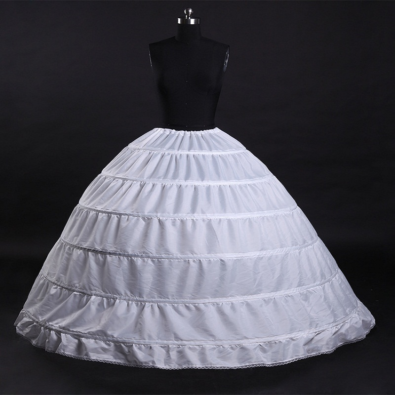 White 6 Hoops Girl Petticoat Crinoline Slip Underskirt For Wedding Dress Bridal Gown Pettycoat Wedding Accessories CQ012