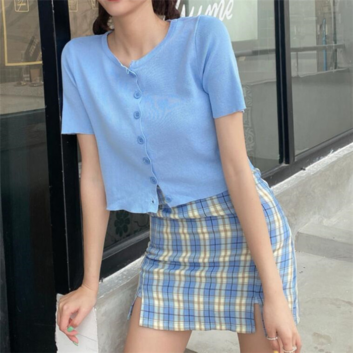 H1d67302c860b4692a7ab5c85b27c13aci - Korean Colored Plaid Skirt Women Student Chic Short Skirts Fashion Sexy Mini Skirts Spring Summer Female Skirts