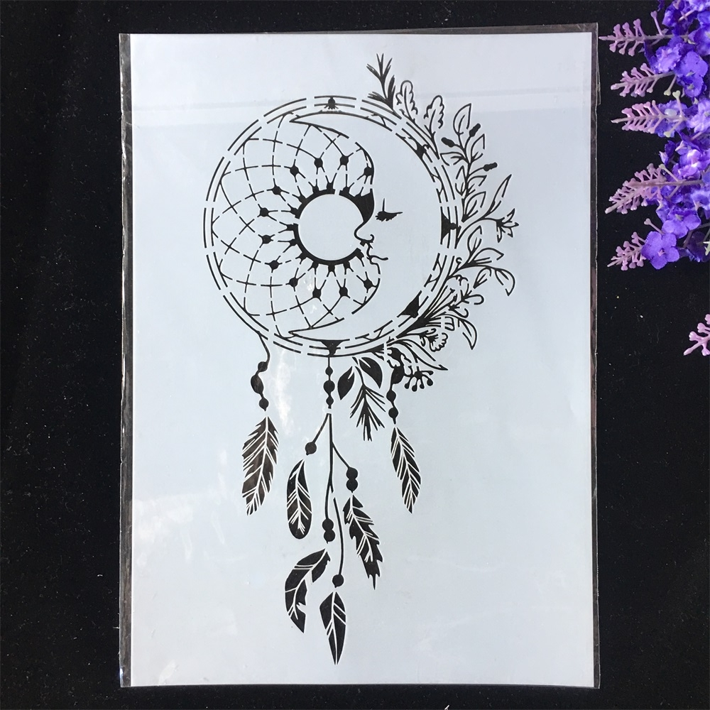 1Pcs A4 29*21cm Wheel Feather Leaves Tassel DIY Layering Stencils Painting Scrapbook Coloring Embossing Album Decor Template