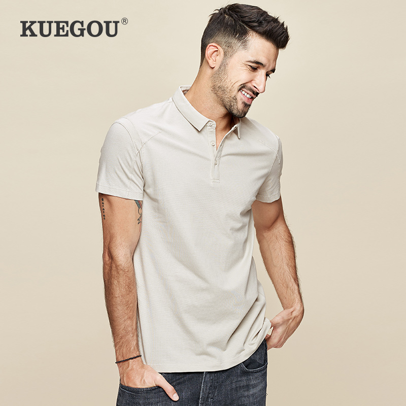【Kuegou】 Men 's short sleeve   Polo   shirt Summer clothes Simple pure color cultivate one's morality lapel shirts DT-5033