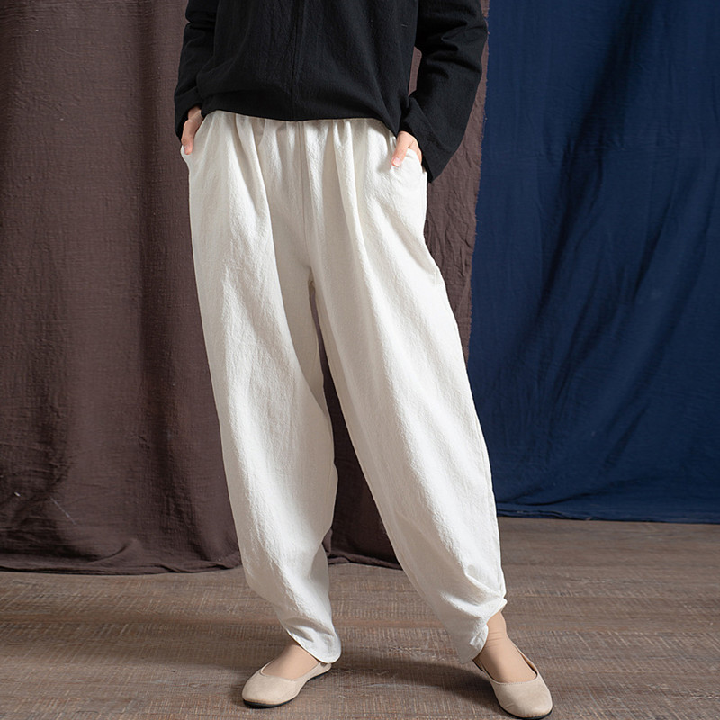 2019 Spring Summer 4 Colors Cotton Linen Solid Color Elastic Waist Vintage Pants Women Ankle-Length Harem Pants New