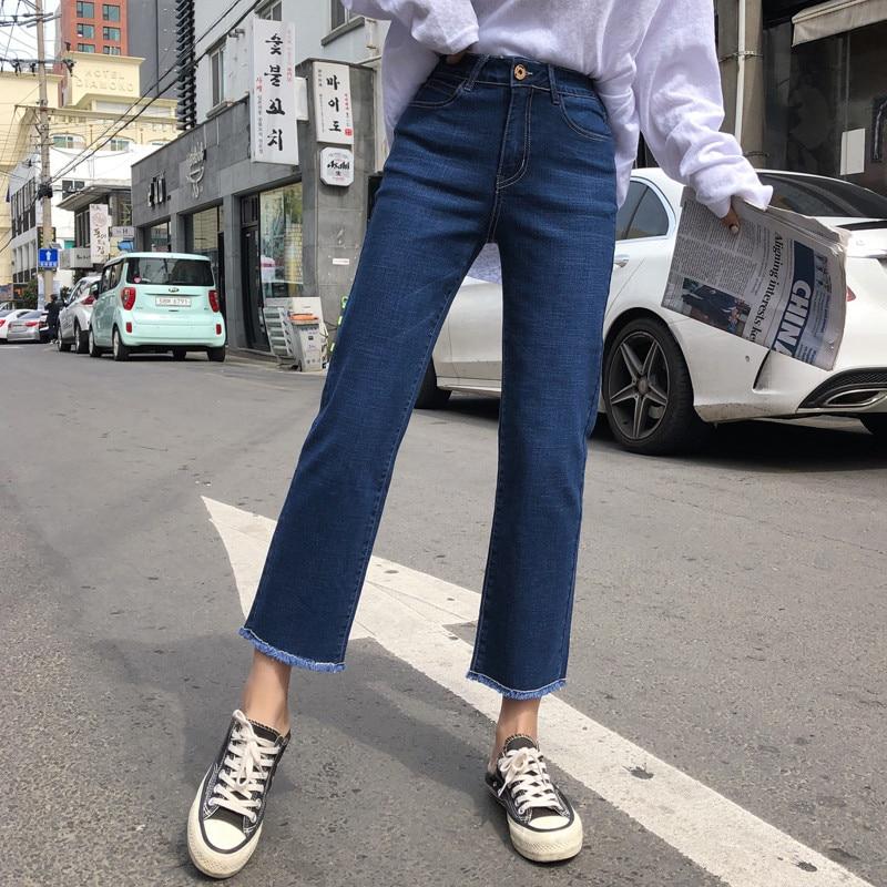 Jeans Woman High Waist  New Arrival Soft  Plus Size Ankle  Length Vintage Blue Female  Denim  Pants