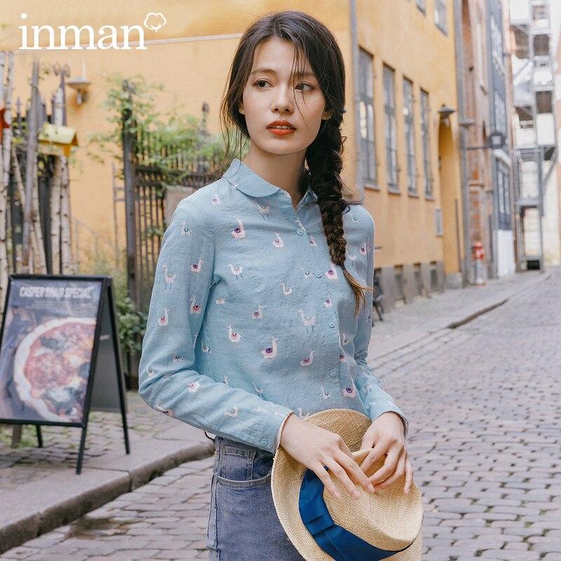 INMAN, весна 2020, Новое поступление, оригинальная однобортная блузка с длинным рукавом и принтом животных