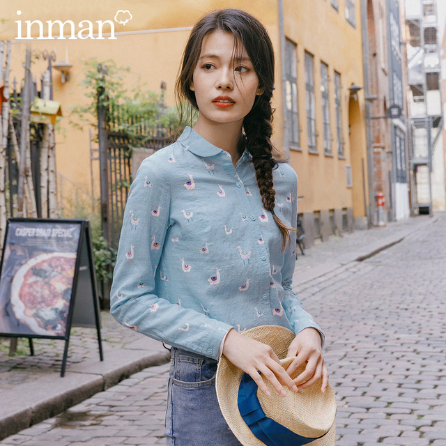 INMAN 2020 Spring New Arrival Literary Pure and Fresh Lapel Single Breasted Animals Printed Loose Long Sleeve Blouse