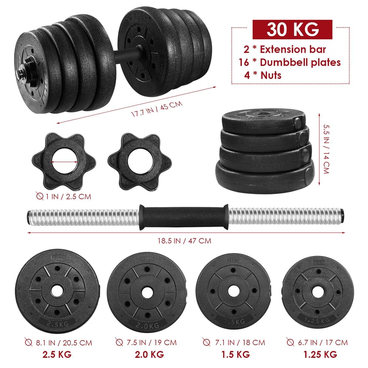 Une paire de 30kg haltères ensemble de poids réglable solide Fitness haltères ensemble sécurité anti-dérapant haltères gymnastique exercice entraînement outils - 6