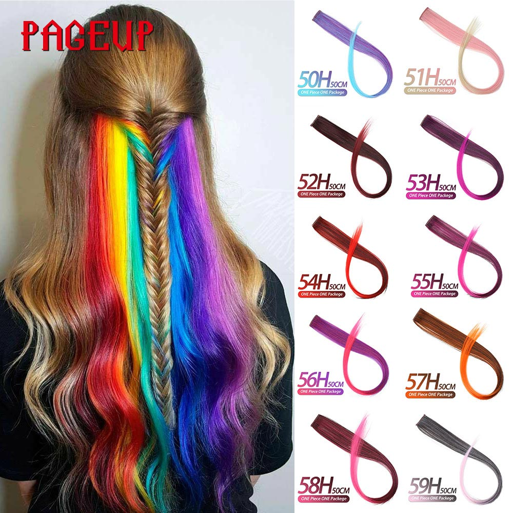 Pageup Rainbow Synthetic Fake Hair Pieces Long Straight Ombre Hairpiece For Women Blonde Pink Clip In Hair Extensions Colorful