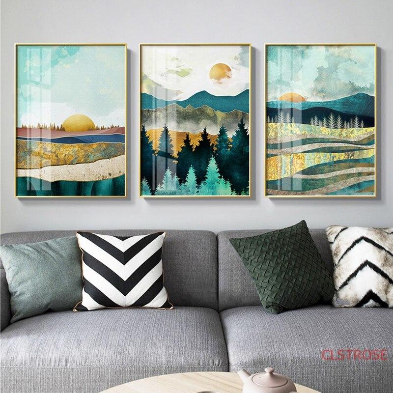 Скандинавский плакат рассвет закат пейзаж печать настенная Художественная Картина на холсте, украшение настенные картины для гостиной современный домашний декор|Рисование и каллиграфия| | - AliExpress