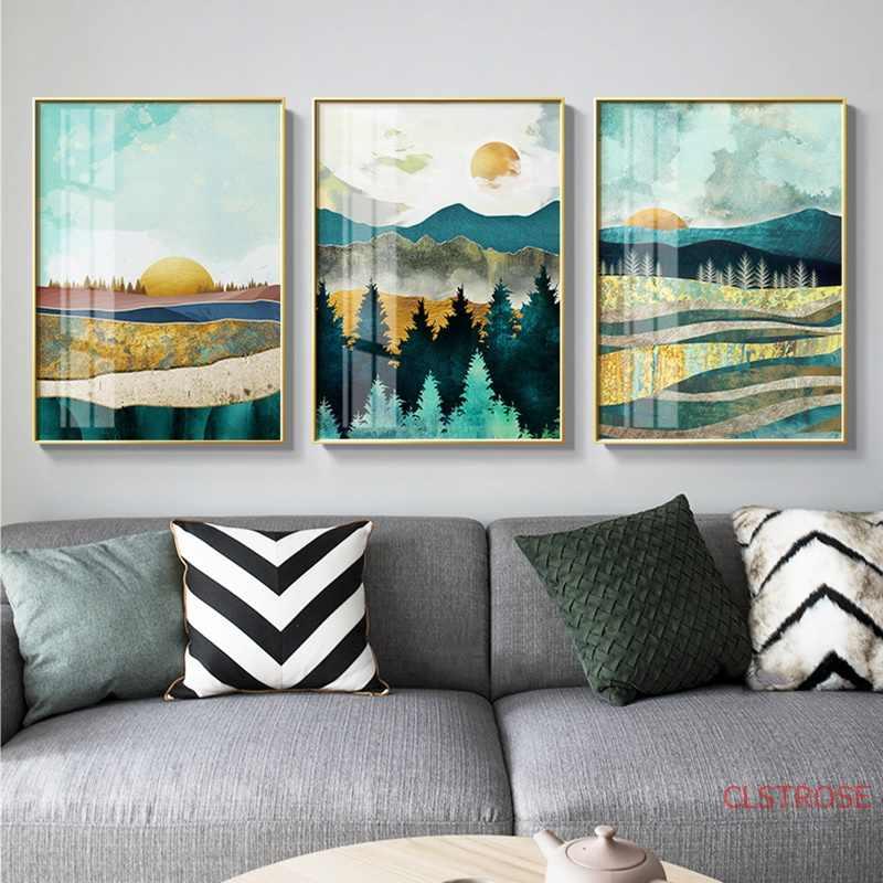 Nordic Poster Matahari Terbit, Matahari Terbenam Pemandangan Cetak Dinding Seni Lukisan Kanvas Dekorasi Dinding Gambar untuk Ruang Tamu Modern Dekorasi Rumah
