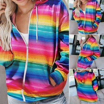 2020 Autumn Winter Women Rainbow Striped Print Long Sleeve Hoodies Sweatshirts Casual Zipper Jacket Female Pocket Hooded Tops striped trim raglan sleeve jacket