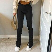 2021 Women Solid Jeans Slim-fit High Waist Trousers Slit High-waisted Skinny Trousers Sweatpants Vintage Slim Wide Leg Pants D04