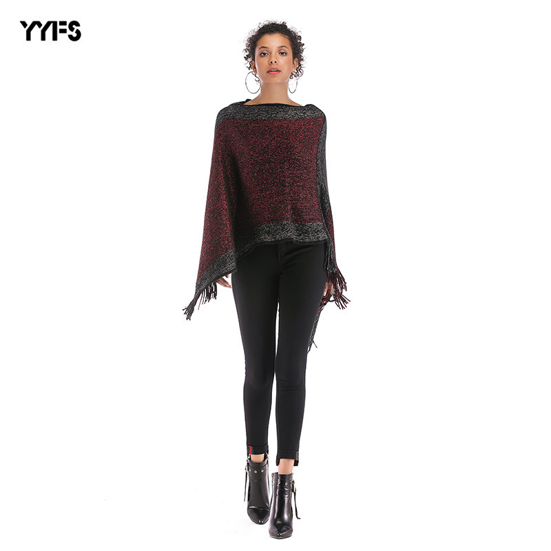 Amazon Autumn And Winter Hot Selling Foreign Trade WOMEN'S Dress Mixed Colors Horizontal Neck Tassels Shawl Bat Sleeve Sweater C