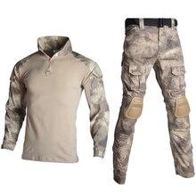 Тактическая Военная форма костюмы камуфляж стрельба рубашки в охотничьем стиле брюки налокотники наколенники CS страйкбол Пейнтбол Одежда наборы