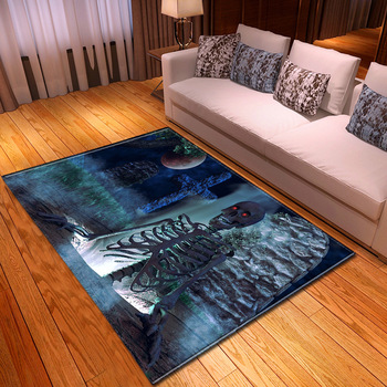 Halloween 3D Terror Skull/Mummy Pattern Carpets for Living Room Skull Printed Mat Flannel Memory Foam Halloween Party Area Rugs фото