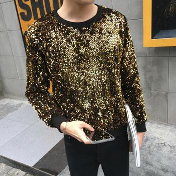 цены Nightclub DJ Singer Stage Costume Bar Costume Personality Alternative Gold Glitter Male Men Hoodies Harajuku Hip Hop Men Clothes