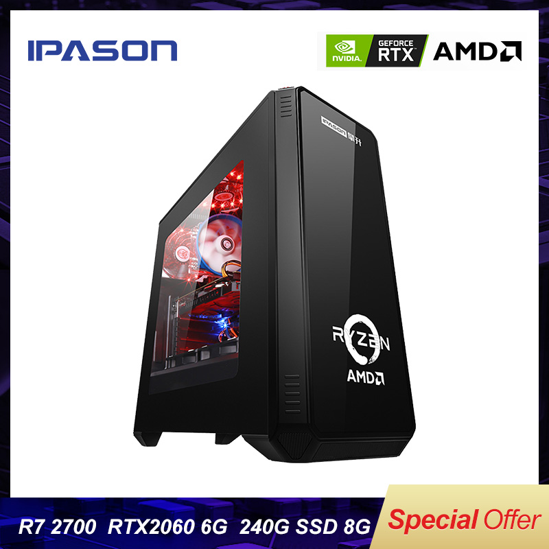 IPASON Gaming Desktop computer P88 AMD 8-Core R7 2700/RTX2060 6G/8G DDR4/240G SSD Water Cooling Assembly Computer Gaming PC image