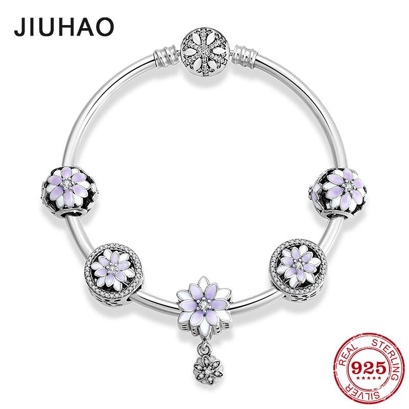 925 argent Sterling glamour fleurs pendentifs Bracelets avec perles en émail violet breloques mode femme Bracelet bijoux de luxe