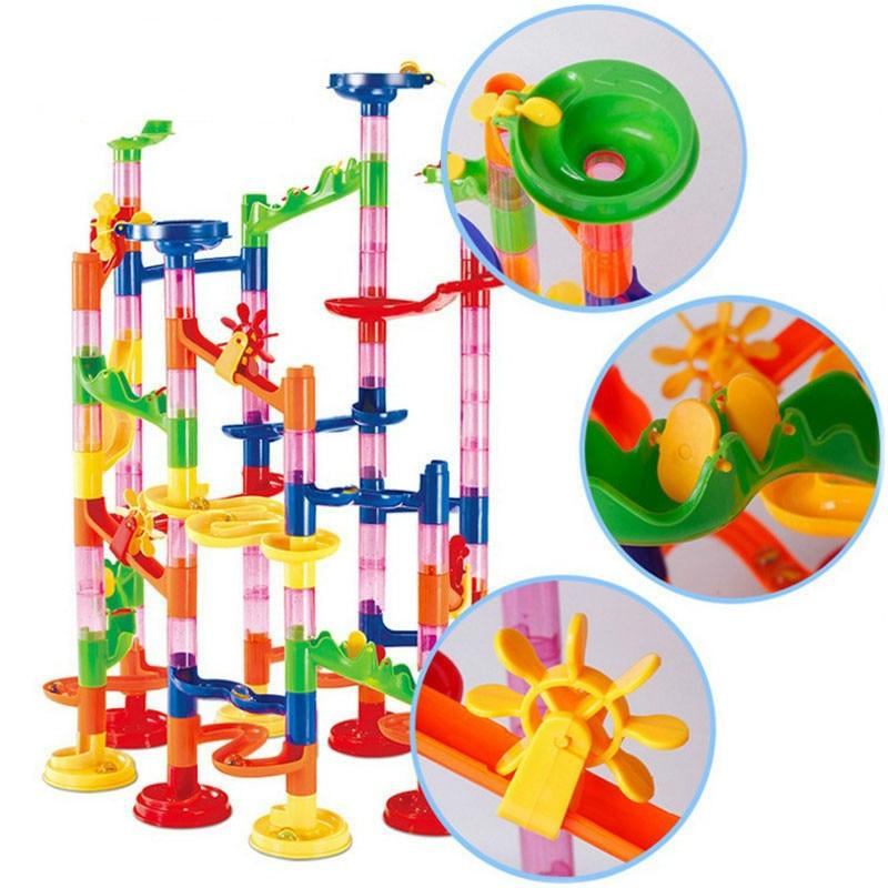 29/105pcs Set DIY Construction Marble Race Run Track Building Blocks Kids Maze Ball Roll Toys Christmas Gift