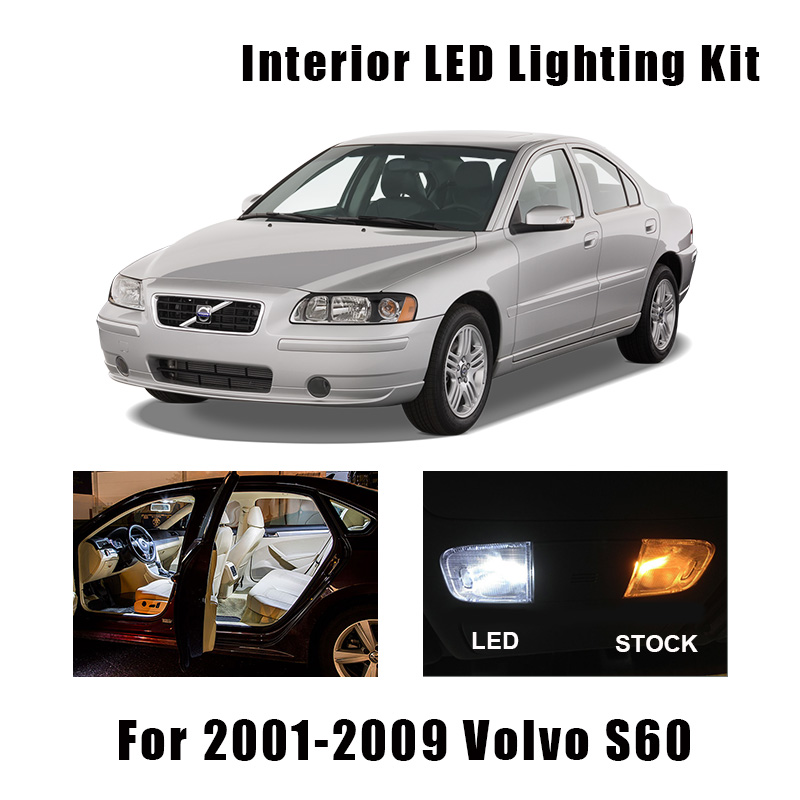 15 Bulbs White Error Free Interior LED Car Light Kit Fit For 2001-<font><b>2006</b></font> 2007 2008 <font><b>2009</b></font> <font><b>Volvo</b></font> <font><b>S60</b></font> Map Dome Cargo Door License Lamp image